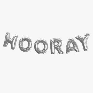 3D Foil Balloon Words Hooray Silver