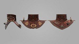 leather steampunk shoulder neck 3D model