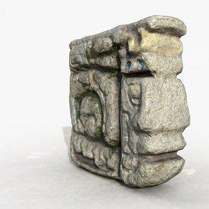 Mayan face ancient sculpture 3D