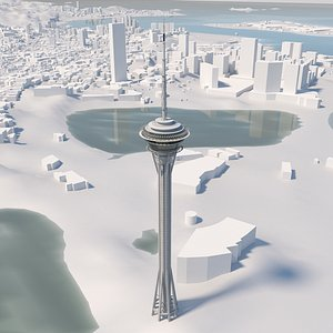 3D model Macau Tower and environment