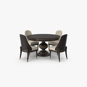 3D model Round Dining Table Set for 4 Persons