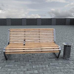 street bench bin 3D model