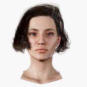 3D Realistic model of female head Anna