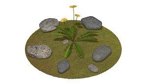 3D stone flower