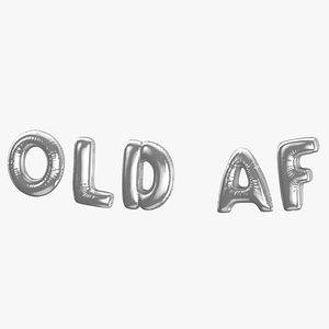 Foil Baloon Words Old Af Silver model