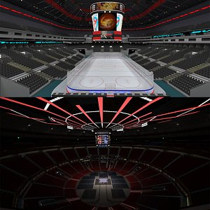 3D Ice Hockey Arena and Boxing Arena model