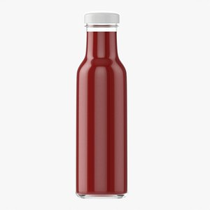 3D Barbecue sauce in glass bottle 06 model