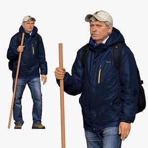 001143 oldy traveler tourist man 3D model