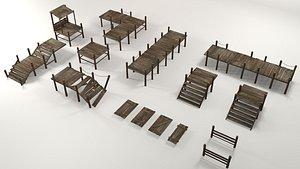 Wooden pier modular collection 3D model