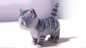 3D model cute hair fur cat