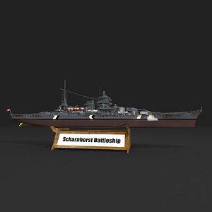 battlecruiser scharnhorst 3D model