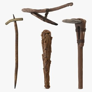 3D Ancient Wooden Tools Collection