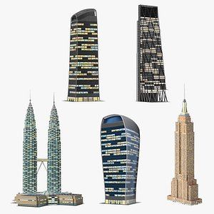 3D Night Glow Skyscrapers Collection 2 model