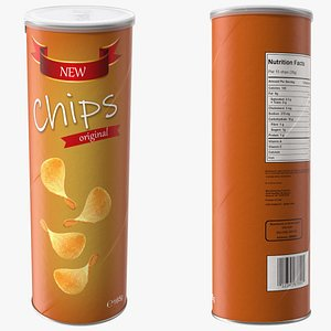 Potato Chips in Tube Package 3D
