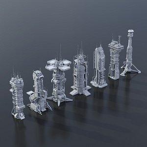 scifi building futuristic 3D model