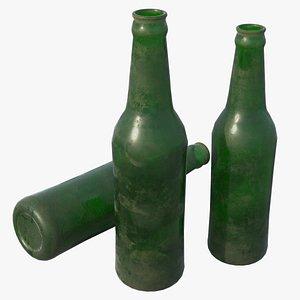 3D glass bottle green model