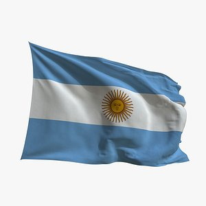 3D Realistic Animated Flag - Microtexture Rigged - Put your own texture - Def Argentina