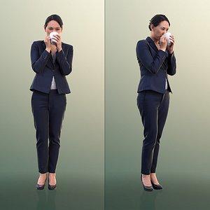 10553 Bao - Business Woman Drinking Coffee 3D model