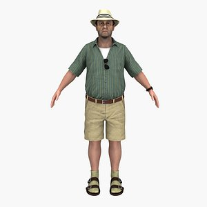 3D man beach