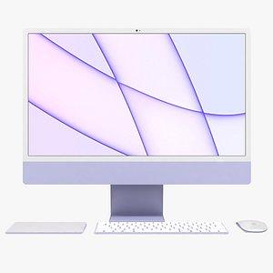 3D Apple iMac 24 inch 2021 Purple All Set