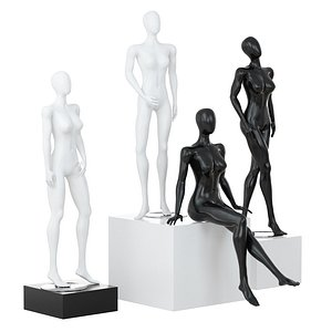 3D Two black and two white female mannequins in different poses 99