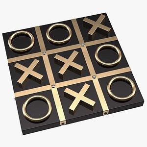 Black and Gold Tic Tac Toe Set 3D model