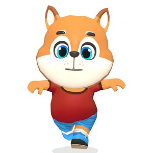 3D Fox Dog Animated Rigged model
