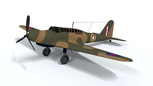 3D model Low Poly Cartoon Fairey Battle WWII Airplane