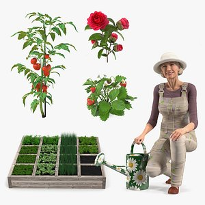 Gardening Lady with Plants Collection 3D model