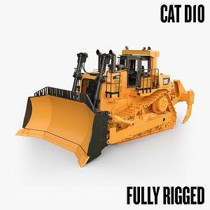 CAT D10 dozer - Rigged 3D model