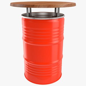 3D Upcycled Oil Drum Bar Table