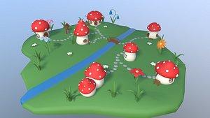 mushroom village cartoon 3D