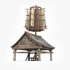 ancient asian windmill 3D