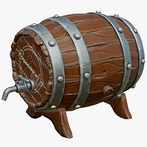 stylized barrel contains 3D model