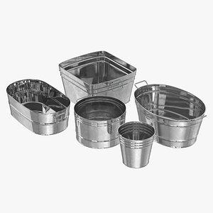 Galvanized Metal Container Set 3D