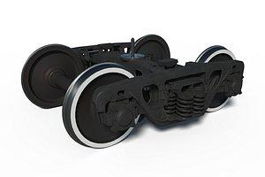 3D cargo train bogie 18-100 model