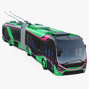 electric hybrid trolleybus rigged model