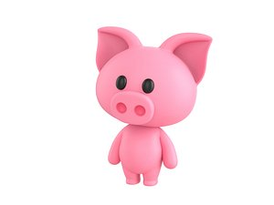 Character054 Rigged Pig 3D model
