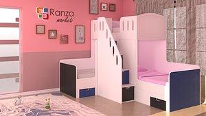 3D kids room design scene