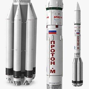 Proton M Heavy Lift Launch Rocket 3D model