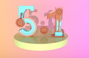 Labor Day Holiday Number May 1 Holiday Fonts Mechanical Number 51 Pipe Number 51 Technological Num 3D model