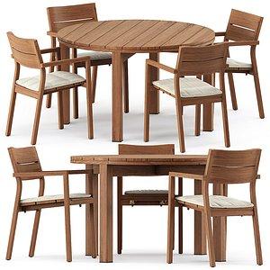 3D Kos armchair and Table Kos Teak model