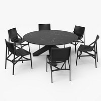 Cassina Dining Table Chair Set Black Marble