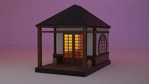 Japanese TeaHouse Clipart Build Low-poly 3D model model