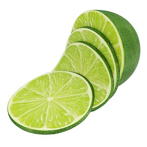 Lime half and slices 3D model