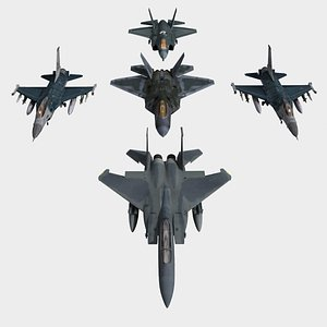 USAF F-15 F-16 F-22 and F-35 3D model