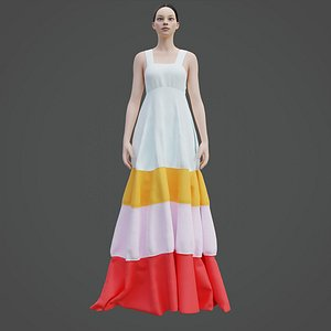 3D model female tiered dress