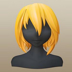 hair girl anime 3D model