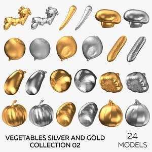 Vegetables Silver and Gold Collection 02 - 24 models 3D