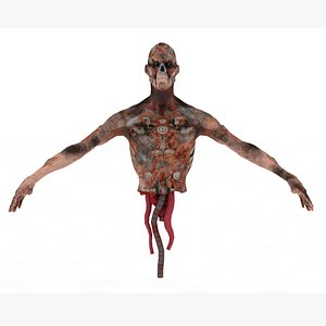 Zombie Crawler Rigged and Animated 3D model